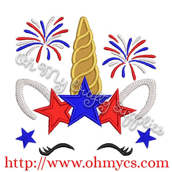 4th Of July Unicorn Applique Design