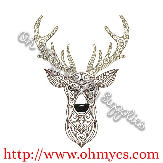 Henna Deer Embroidery Design