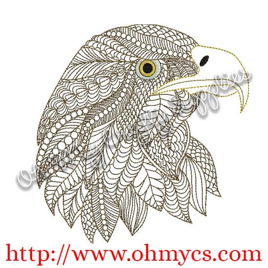 Henna Eagle Embroidery Design