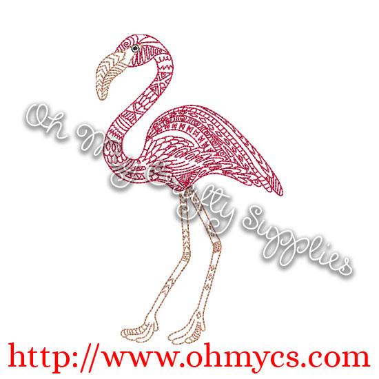 Henna Flamingo Embroidery Design