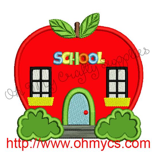 Apple School House Applique Design