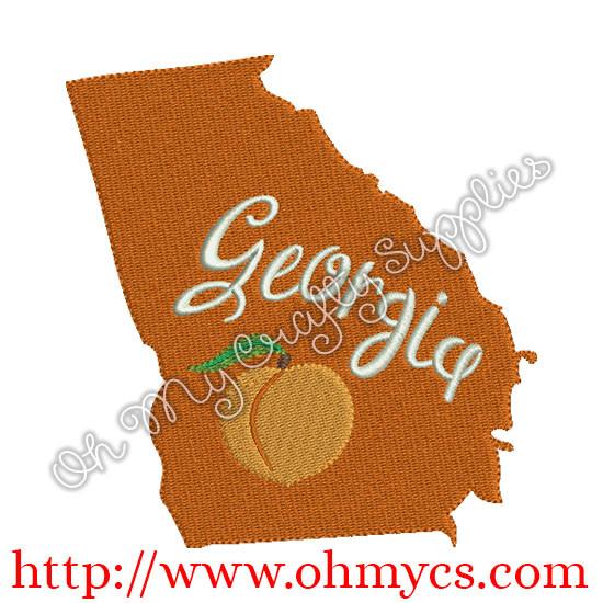 State Of Georgia Embroidery Design