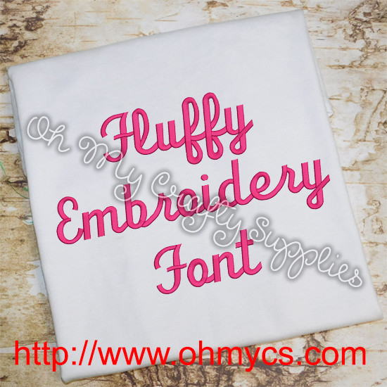 Fluffy Embroidery Font Bx Included