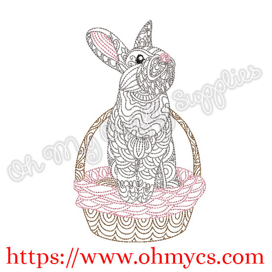 Henna Bunny In Basket Embroidery Design