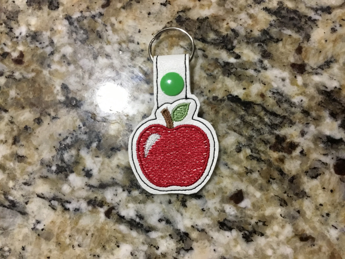 Ith Apple Key Fob Embroidery Design In The Hoop Categories