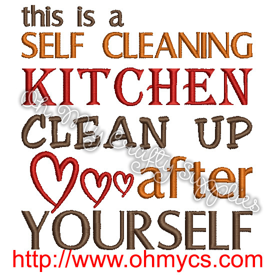 Self Cleaning Kitchen Embroidery Design