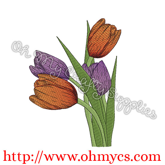 Blended Tulips Embroidery Design