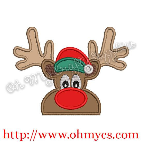 Red Nose Reindeer Peeker Applique Design