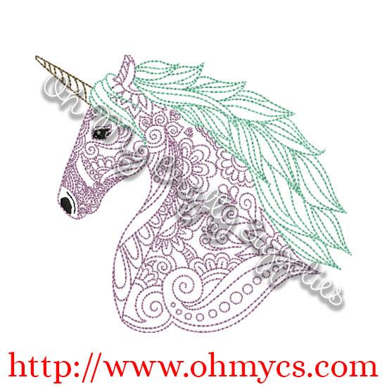 Henna Unicorn Embroidery Design Ponies Categories