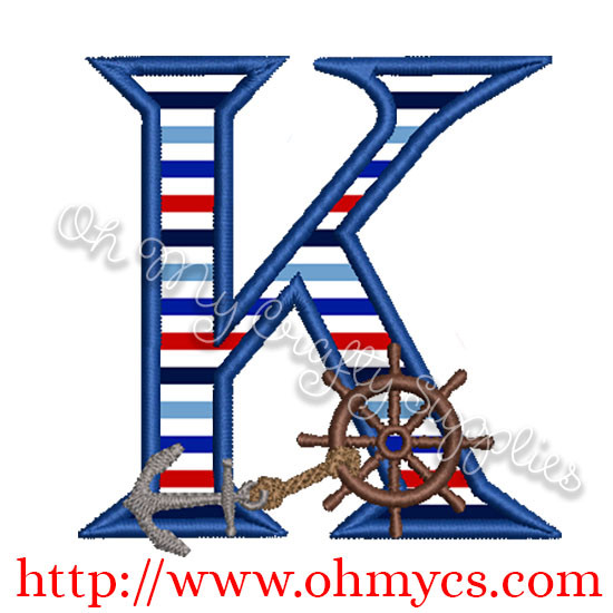 K Algerian Letter Applique Design