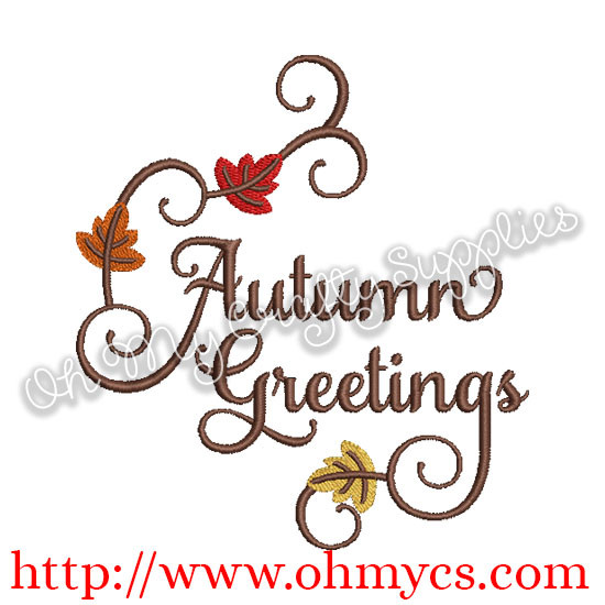 Autumn greeting embroidery design sayings categories autumn greeting embroidery design m4hsunfo