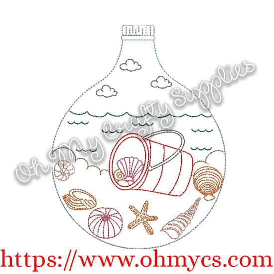 Beach In A Bottle Embroidery Design