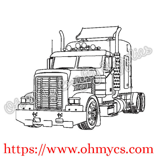 Big Rig Drawing Embroidery Design