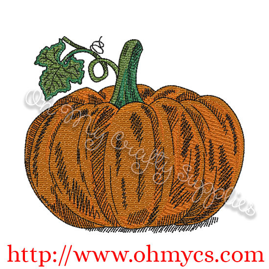 Blended Pumpkin Embroidery Design