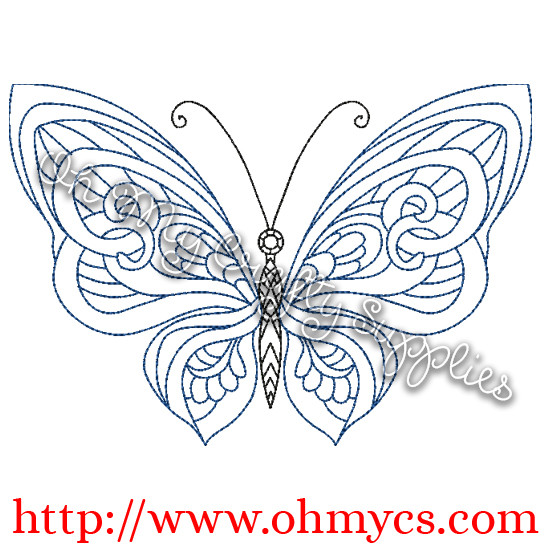 Henna Butterfly Embroidery Design