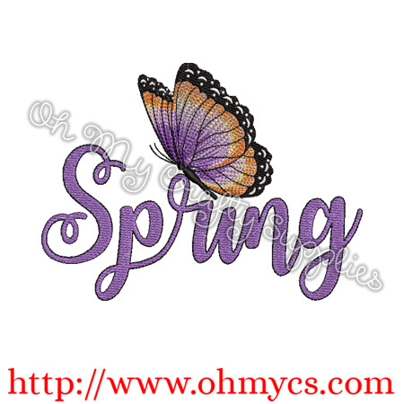 Blended Spring Butterfly Embroidery Design