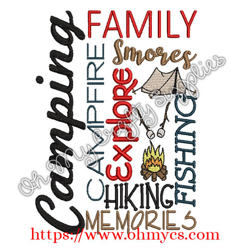 Camping Words Embroidery Design