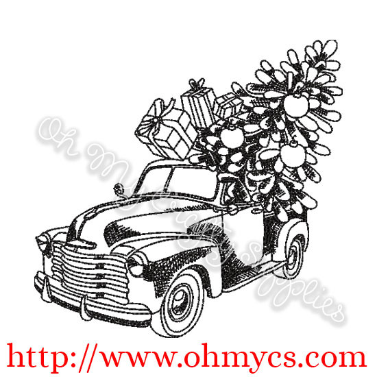 Christmas Truck Sketch Embroidery Design