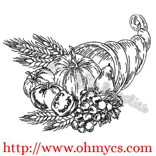 Cornucopia Sketch Embroidery Design