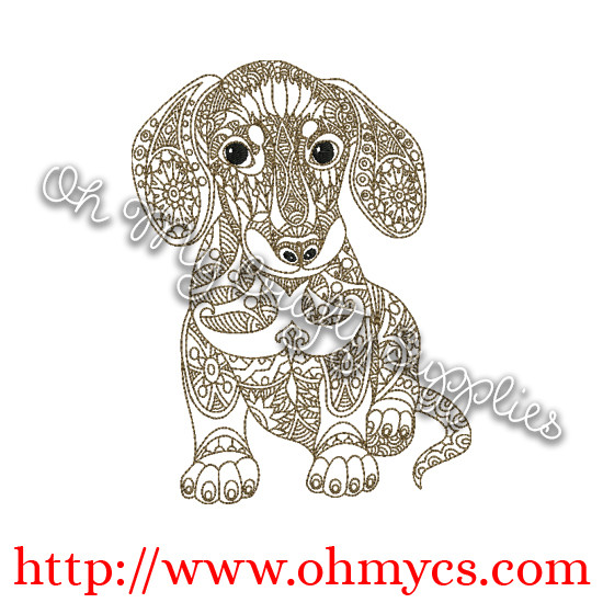 Henna Dachshund Embroidery Design