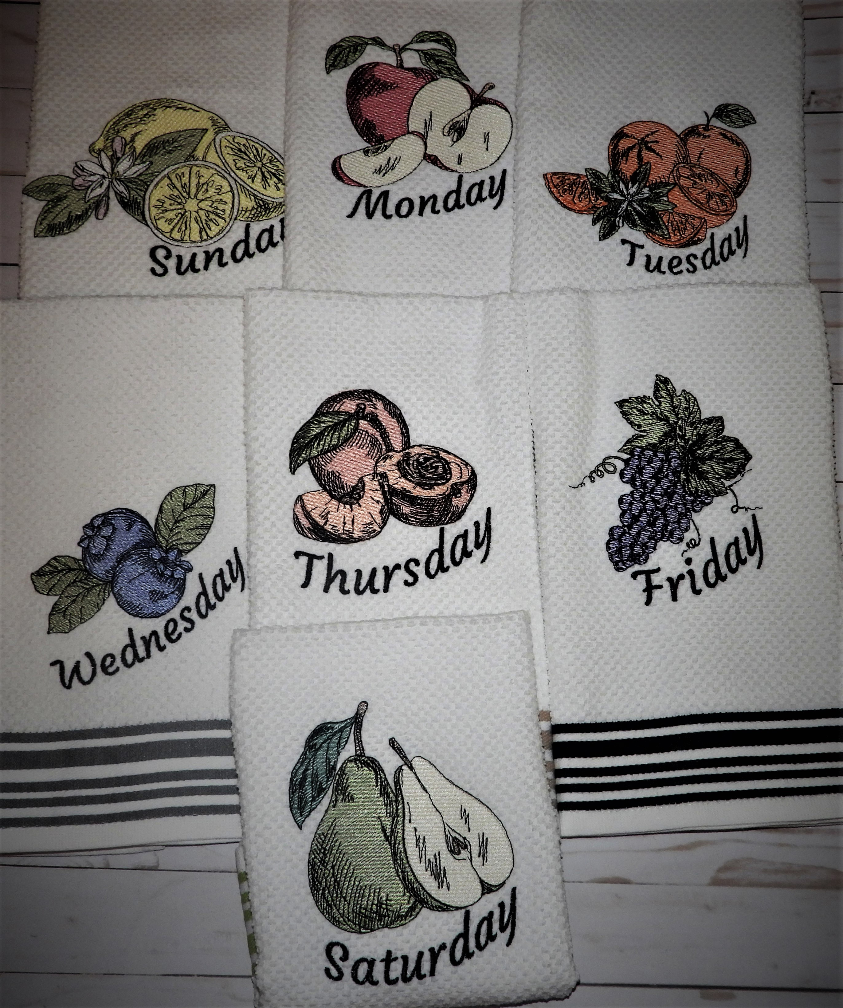Fruit Days of the Week Sketch Embroidery Bundle