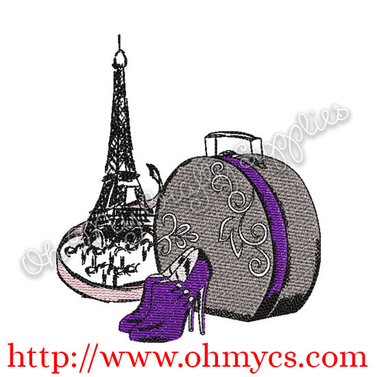 Eiffel Tower With Heels Embroidery Design