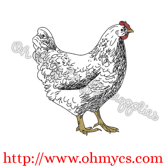 A Farm Hen Sketch Embroidery Design
