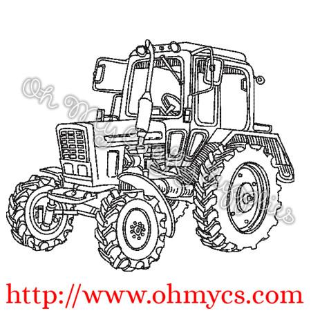 Farm Tractor Sketch Embroidery Design