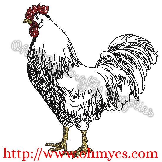 A Farm Rooster Sketch Embroidery File