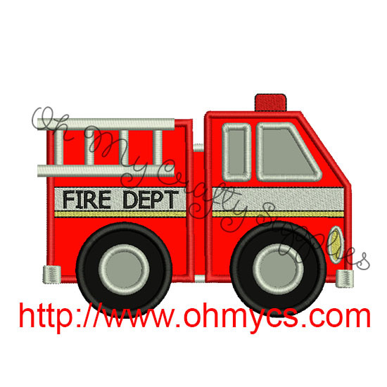 Fire Truck Applique Embroidery Design