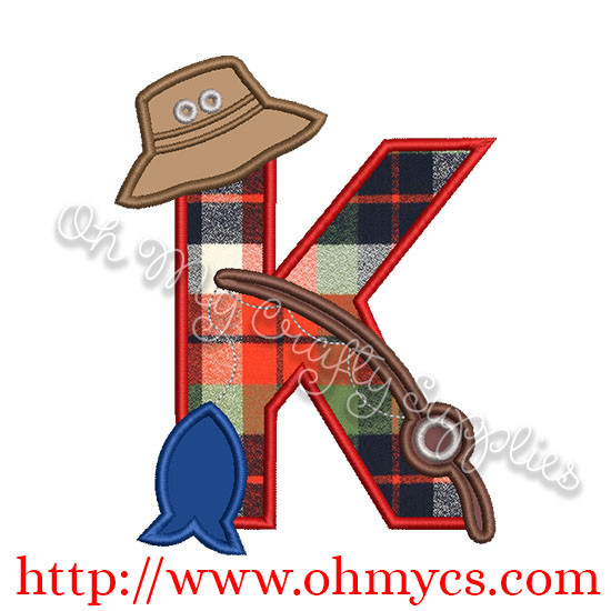 Fishing K Applique Letter Design