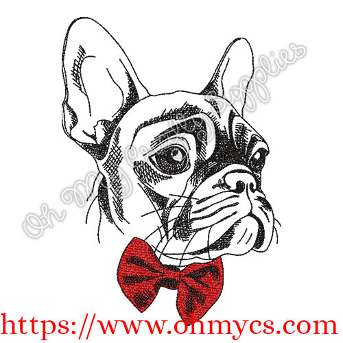 French Bulldog with Bowtie Embroidery Design