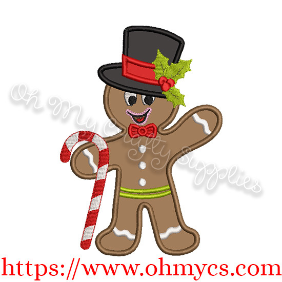Gingerbread Man with Candy Cane Applique Design