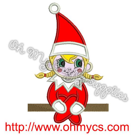 Girl Elf On The Shelf Embroidery Design