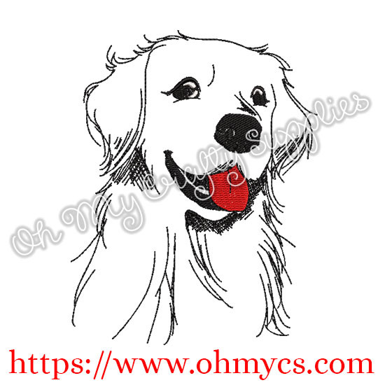 Goldie Doggy Sketch Embroidery Design