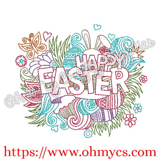 Happy Easter Splash Embroidery Design