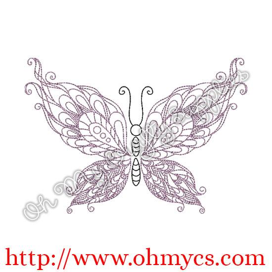 Henna Butterfly Swirls Embroidery Design