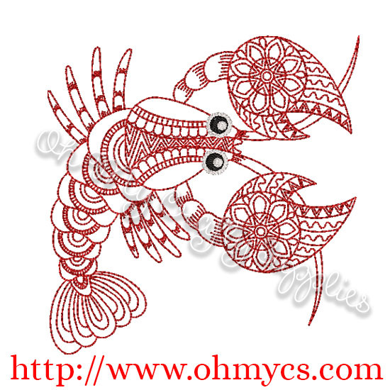 Henna Lobster Embroidery Design