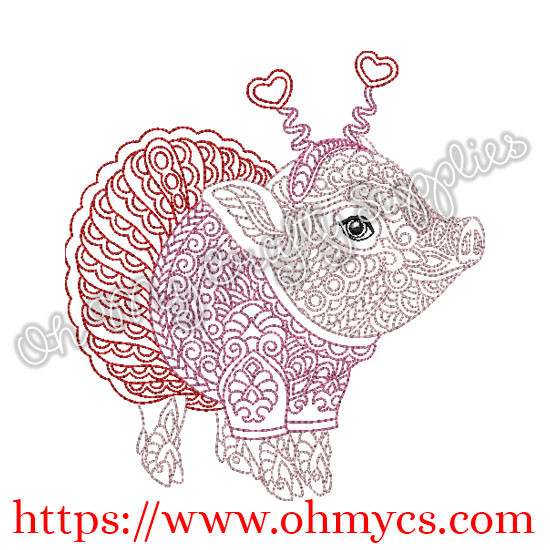 Henna Pig in a Tutu Embroidery Design