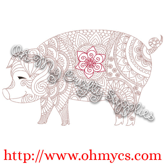 Henna Pig Embroidery Design