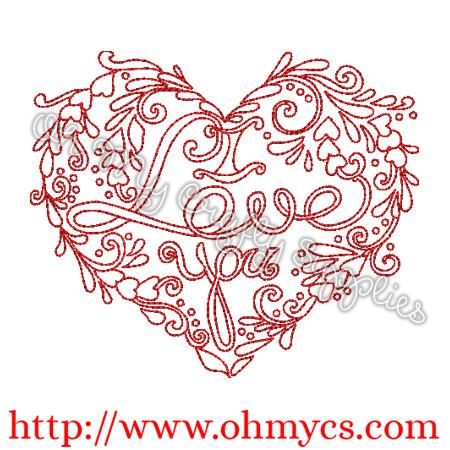 I Love You Henna Heart Embroidery Design