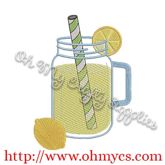 Jar of Lemonade Embroidery Design