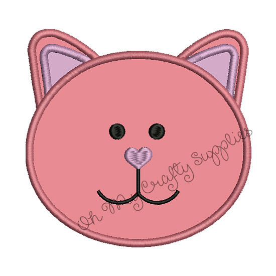 Kitty Cat Applique Embroidery Design