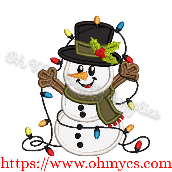 Light Snowman Applique Design