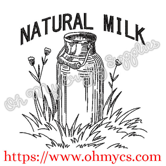 Natural Milk Can Embroidery Design