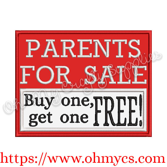Parents for sale buy one get one free applique design