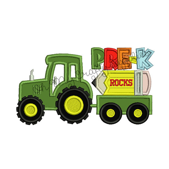 Pre K Tractor Applique Embroidery Design