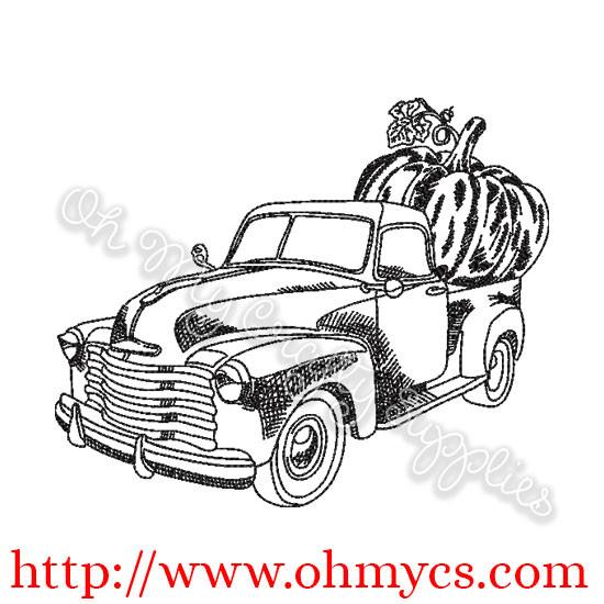 Pumpkin Truck Sketch Embroidery Design