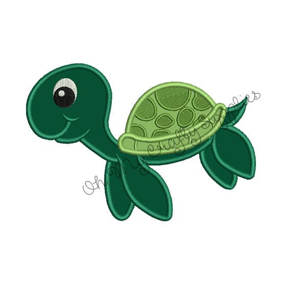 Sea Turtle Applique Embroidery Design