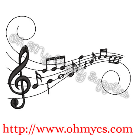 Sharp Music Notes Embroidery Design